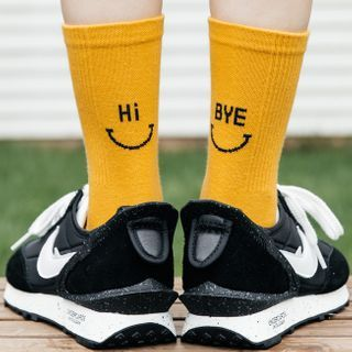 electroyinyang - Smiley Face Print Ankle Socks