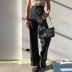 Puffie - Pinstriped Wide Leg Pants
