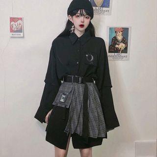 Yunidan - Printed Long Shirt / Side-Slit Mini Pleated Skirt