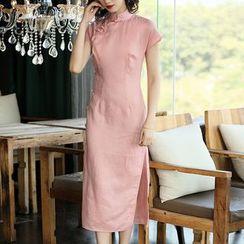 欧依潮派 - 纯色短袖旗袍