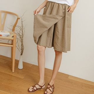JUSTONE - Patch-Pocket Wrap Linen Culottes