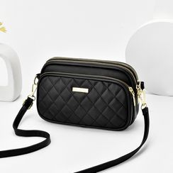 Aquilegia - Plain Quilted Zip Crossbody Bag
