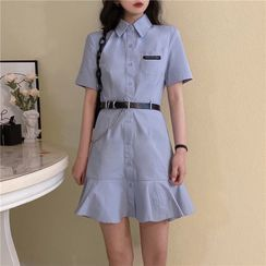 VAVA - Short-Sleeve Mini A-Line Shirt Dress