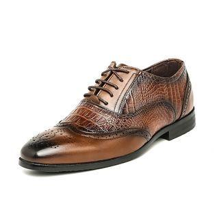 MARTUCCI - Faux Croc Grain Lace Up Oxford Shoes