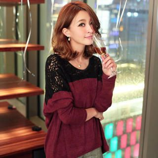 Tokyo Fashion - Lace Inset Dip-Back Knit Sweater