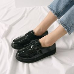 Wifky - Round-Toe Patent Monk Loafers