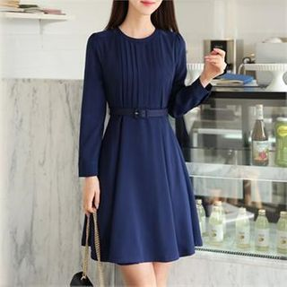 CHICLINE - Round-Neck Pleated-Panel A-Line Dress With Belt