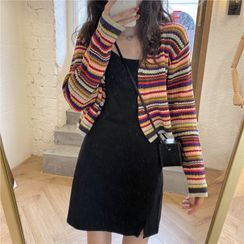 OCTALE - 条纹开衫 / 细肩带迷你A字连衣裙