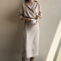 Fabrica - Long-Sleeve Wrap Shirtdress