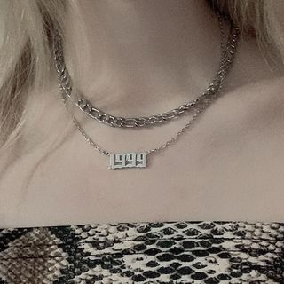 PANGU - Stainless Steel Numerical Pendant Layered Necklace