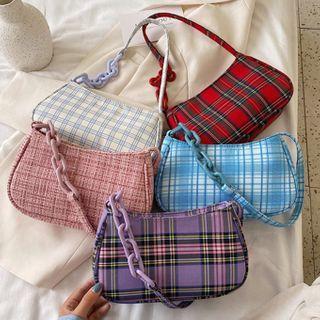 Diamante - Plaid Hobo Bag
