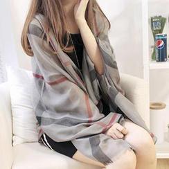 Rita Zita - 寬鬆格子薄圍巾