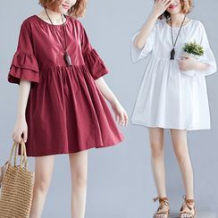 RAIN DEER - Elbow-Sleeve Frill Trim A-Line Mini Dress