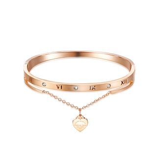 BELEC - Fashion Classic Plated Rose Gold Roman Numeral Heart-shaped 316L Stainless Steel Bangle with Cubic Zirconia