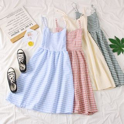 Babique - Spaghetti Strap Gingham A-Line Dress