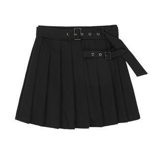 MISHI CLUB - Pleated Plain Mini Skirt With Belt