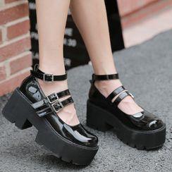 Anran - Platform Ankle-Strap Mary Jane Shoes