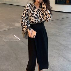 Antoinine - Puff-Sleeve Leopard Print Blouse / Midi A-Line Skirt / Set