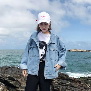 JIUHOJI - Denim Jacket / Lace Open Front Jacket