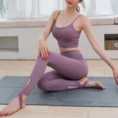 wildhane - 套装: 细肩带运动文胸 + 踩脚瑜伽裤