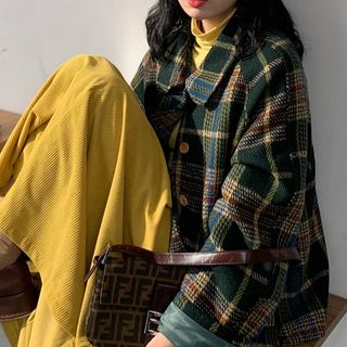 monroll - Plaid Jacket / Plain Long-Sleeve Top / A-Line Midi Skirt