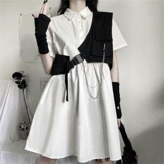 Malnia Home - Short Sleeve Plain A-Line Shirtdress / Chain Detail Asymmetric Vest