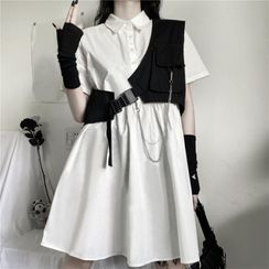 Malnia Home - 短袖純色A字襯衫連衣裙/鏈條細節不對稱馬甲