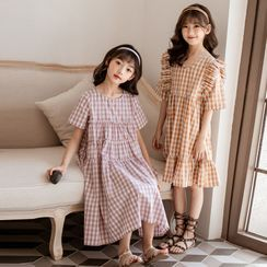 Cynanne - Kids Short-Sleeve Gingham Ruffled Midi A-Line Dress
