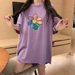 Whoosh - Short Sleeved Flower Print T-Shirt