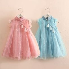 Seashells Kids - Kids Sleeveless Stand Collar Lace Dress