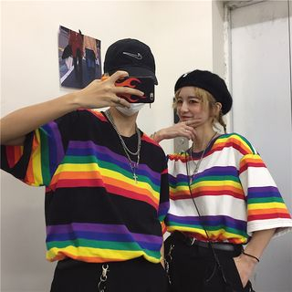 Giuliana - Couple Matching Elbow-Sleeve Rainbow Stripe T-Shirt