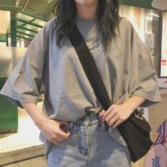 CRIBI - Elbow-Sleeve Plain T-Shirt
