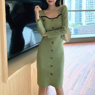 YGONE - 長袖塑身針織連衣裙