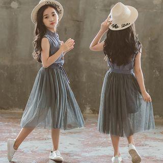 Cuckoo - Family Matching Set: Sleeveless Buttoned Dress + Midi Mesh Skirt