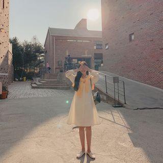 CHERRYKOKO - Raglan-Sleeve A-Line Shirtdress
