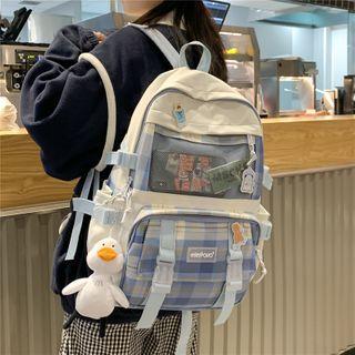 Tango Sky - Plaid Panel Mesh Pocket Backpack