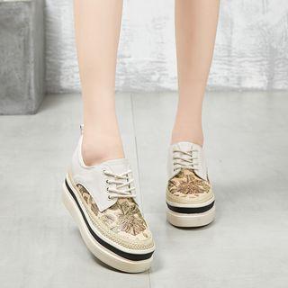 LARKSPUR - 厚底碎花繫帶鞋