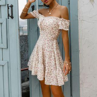 Glamaker - Off-Shoulder Lace-Up Floral Print A-Line Dress
