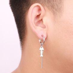Prushia - 不鏽鋼魚骨流蘇耳環