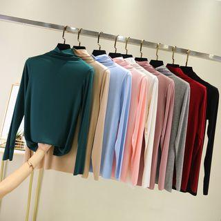 Lacyland - Turtle-Neck Long-Sleeve T-Shirt