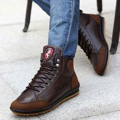 Auxen - High-Top Faux Leather Sneakers