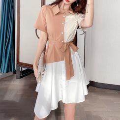 Rosehedge - 短袖镂空肩腰结带迷你A字衬衫连衣裙