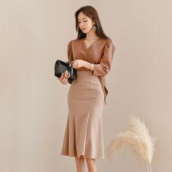 Dimanche - 七分袖腰结带裹式衬衫 / 鱼尾中长裙