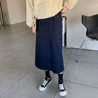 Hello sweety - Wrap-Front Cargo Long Skirt
