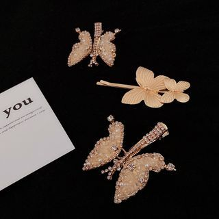 Mimishi - Faux Crystal Buttoned Hair Clip / Alloy Hair Pin