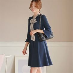 CHICLINE - 3/4-Sleeve A-Line Dress with Scarf