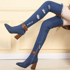 Weiya - 牛仔粗跟過膝靴