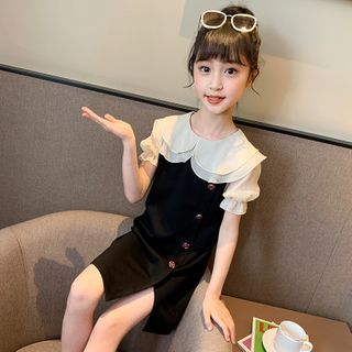 Qin Qin - Kids Short-Sleeve Button Mini A-Line Dress