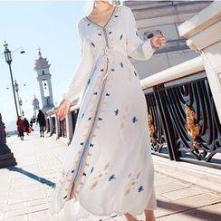 Kokuko - Long-Sleeve Embroidered A-Line Midi Dress