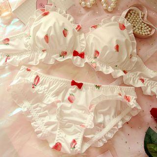 Prinsis - Set: Printed Ruffle Trim Bra + Panties